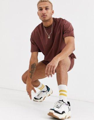 ASOS DESIGN - Braunes Oversize-T-Shirt mit Nahtdetails, Kombiteil