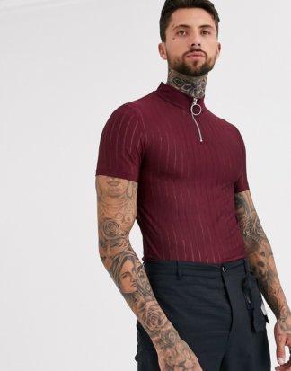 ASOS DESIGN - Eng geschnittenes T-Shirt mit Stehkragen und Reißverschluss in Burgunderrot