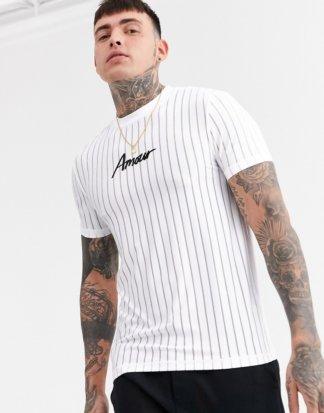 ASOS DESIGN - Enges T-Shirt aus gestreiftem Netzstoff mit Amour-Print auf der Brust-Weiß