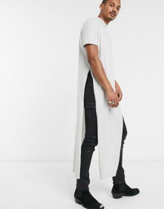 ASOS DESIGN - Extrem langes, legeres T-Shirt mit Stehkragen in Blassgrün