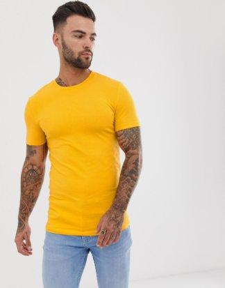 ASOS DESIGN - Gelbes Muskel-T-Shirt aus Bio-Baumwolle mit Rundhalsausschnitt