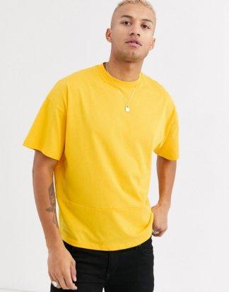 ASOS DESIGN - Gelbes, Oversize-T-Shirt mit Nahtdetails