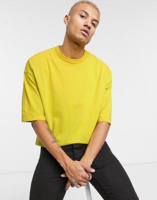 ASOS DESIGN - Gelbes Oversize-T-Shirt mit halblangen Ärmeln und Acid-Waschung