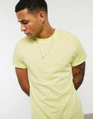 ASOS DESIGN - Gelbes T-Shirt mit Rundhalsausschnitt und gerollten Ärmeln