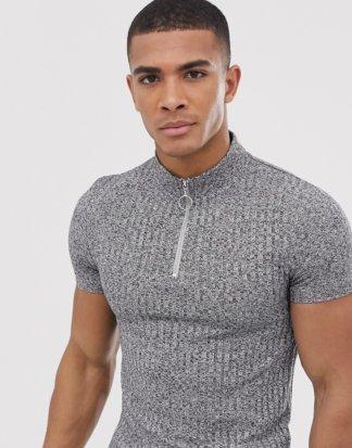 ASOS DESIGN - Geripptes Muskel-T-Shirt mit Stehkragen mit Reißverschluss in Grau