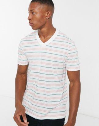 ASOS DESIGN - Gestreiftes T-Shirt aus Bio-Baumwolle mit V-Ausschnitt-Weiß