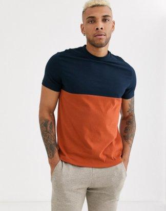 ASOS DESIGN - Hellbraunes T-Shirt aus Bio-Material mit kontrastierender Passe