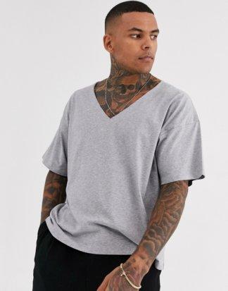 ASOS DESIGN - Kalkgraues Oversize-T-Shirt mit ungesäumtem, tiefem V-Ausschnitt