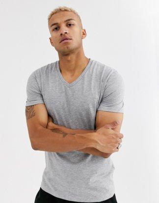 ASOS DESIGN - Kalkgraues T-Shirt mit V-Ausschnitt