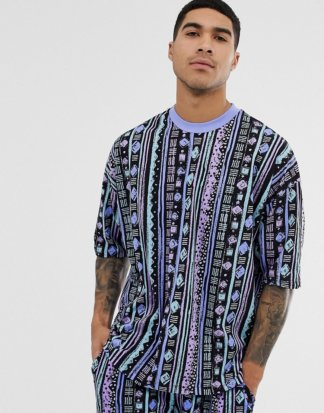 ASOS DESIGN - Kombiteil - Übergroßes T-Shirt mit Aztekenmuster-Mehrfarbig