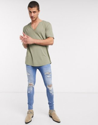 ASOS DESIGN - Lässiges T-Shirt in Khaki-Grün