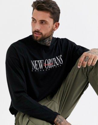 ASOS DESIGN - Langärmliges Oversize-Shirt mit City-Print auf der Brust-Schwarz