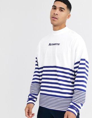 ASOS DESIGN - Langärmliges Oversize-Shirt mit Stehkragen und Print auf der Brust-Weiß