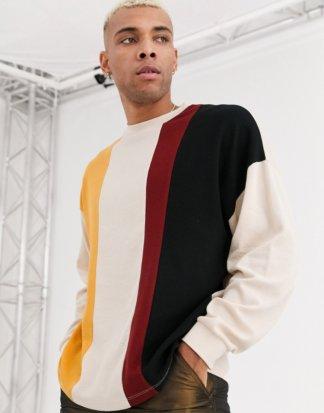 ASOS DESIGN - Langärmliges Oversize-T-Shirt aus schwerem Waffelgewebe mit Farbblockdesign-Mehrfarbig