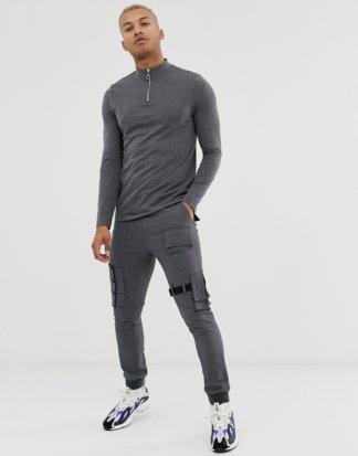 ASOS DESIGN - Langärmliges Shirt aus Bio-Baumwolle mit Reißverschluss-Stehkragen in Anthrazit meliert-Grau