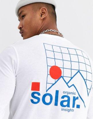 ASOS DESIGN - Langärmliges Shirt mit Solar-Rückenprint-Weiß