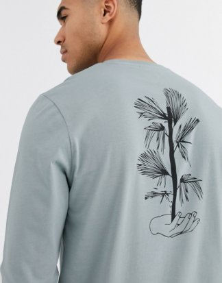 ASOS DESIGN - Langärmliges Shirt mit geblümtem Print auf der Rückseite-Grau