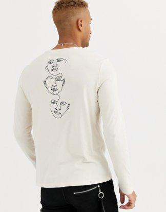 ASOS DESIGN - Lang geschnittenes Shirt mit Gesichtprint am Rücken-Beige