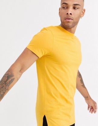 ASOS DESIGN - Langes, gelbes T-Shirt mit Rundhalsausschnitt und Seitenschlitzen