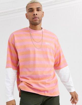 ASOS DESIGN - Langes, langärmliges Oversize-Shirt mit Streifen, doppellagigen Ärmeln und Stickerei-Mehrfarbig