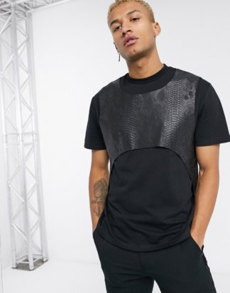 ASOS DESIGN - Legeres Festival-T-Shirt mit Harnisch-Detail in Schwarz