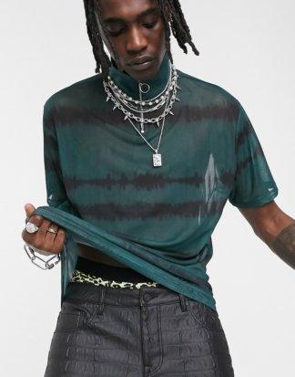 ASOS DESIGN - Legeres T-Shirt aus feinem Netzstoff in Batik-Optik mit Stehkragen mit Reißverschluss, Kombiteil-Grün