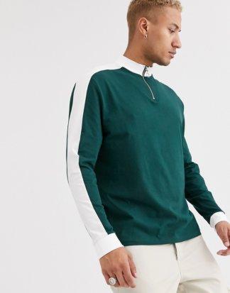 ASOS DESIGN - Legeres, langärmliges Shirt aus Bio-Baumwolle mit kontrastierendem Schultereinsatz und Stehkragen mit Reißverschluss in Grün