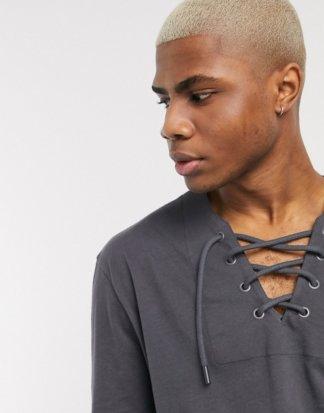 ASOS DESIGN - Legeres, langärmliges Shirt mit Schnürung am Ausschnitt-Schwarz