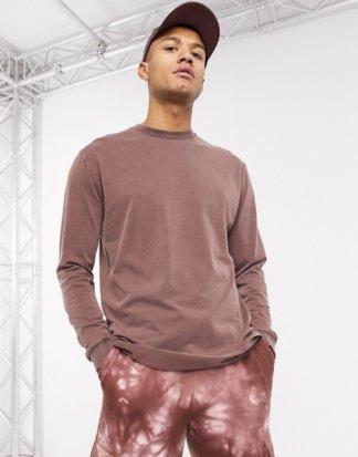 ASOS DESIGN - Legeres, langärmliges Shirt mit brauner Acid-Waschung, Kombiteil