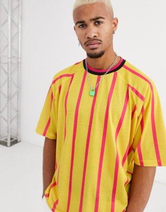 ASOS DESIGN - Leuchtend bunt gestreiftes Oversize-T-Shirt mit geripptem Ausschnitt-Mehrfarbig