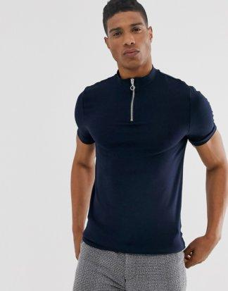 ASOS DESIGN - Marineblaues Muskel-T-Shirt aus Bio-Baumwolle mit Stehkragen und Reißverschluss-Navy