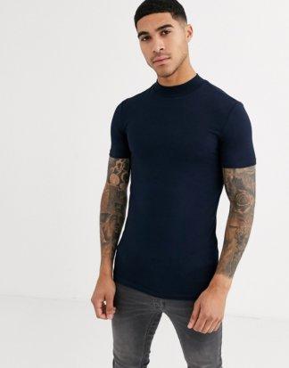 ASOS DESIGN - Muskel-T-Shirt aus Jersey mit Stehkragen in Marine-Navy