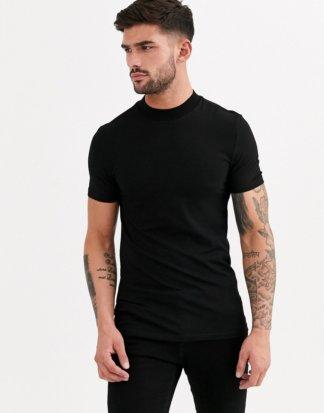 ASOS DESIGN - Muskel-T-Shirt aus Jersey mit Stehkragen in Schwarz