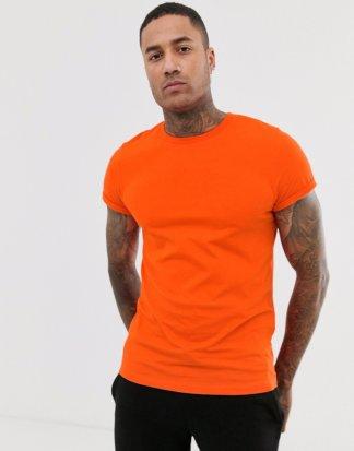 ASOS DESIGN - Oranges T-Shirt mit Rundhalsausschnitt und Rollärmeln