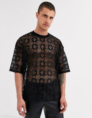 ASOS DESIGN - Oversize-T-Shirt aus schwarzer Spitze mit halblangen Ärmeln