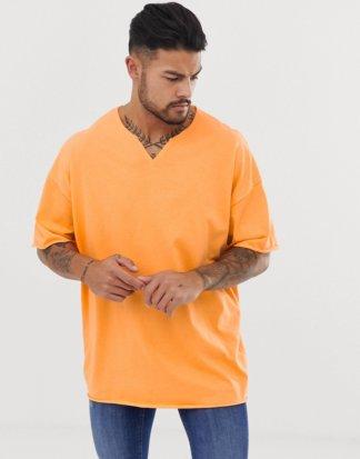 ASOS DESIGN - Oversize-T-Shirt in Orange mit eingekerbtem, grobem Ausschnitt