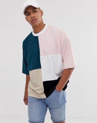 ASOS DESIGN - Oversize-T-Shirt mit Frottee-Patchworkmuster in Farbblockdesign-Mehrfarbig