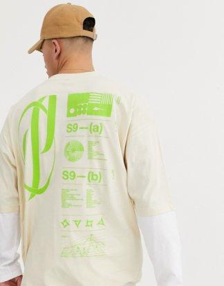 ASOS DESIGN - Oversize-T-Shirt mit großem Schaumprint in Neon hinten und doppellagigen Ärmeln-Beige