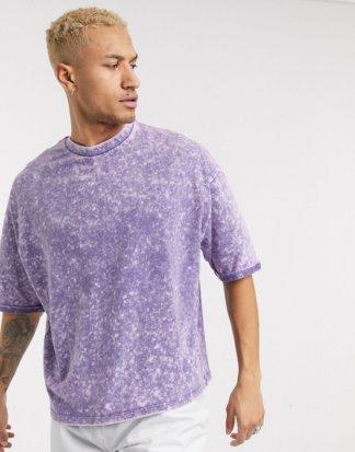 ASOS DESIGN - Oversize-T-Shirt mit halblangen Ärmeln und violetter Batikoptik