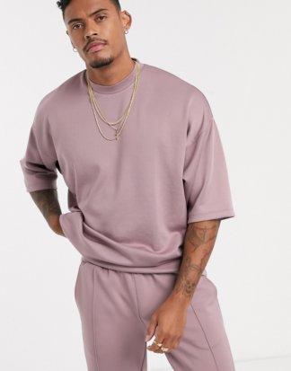ASOS DESIGN - Oversized-T-Shirt aus Neopren mit halblangen Ärmeln-Violett