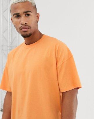 ASOS DESIGN - Oversized-T-Shirt in Orange mit Rundhalsausschnitt