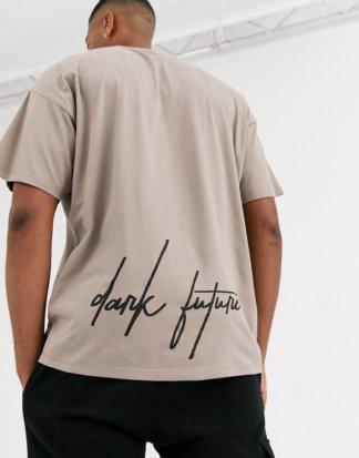 ASOS DESIGN - Oversized-T-Shirt mit Prints hinten und auf der Brust und Dark Future-Logo-Beige