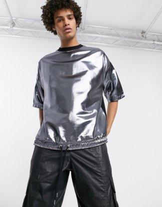 ASOS DESIGN - Oversized-T-Shirt mit halblangen Ärmeln und Kordelzugsaum in Metallic-Silber gewebt