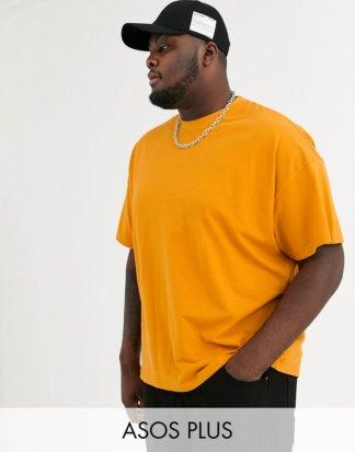 ASOS DESIGN Plus - Übergroßes Pikee-T-Shirt aus Bio-Baumwolle mit Rundhalsausschnitt in Orange-Braun