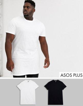 ASOS DESIGN Plus - Besonders lang geschnittene T-Shirts, SPECIAL OFFER: 2er-Pack-Mehrfarbig