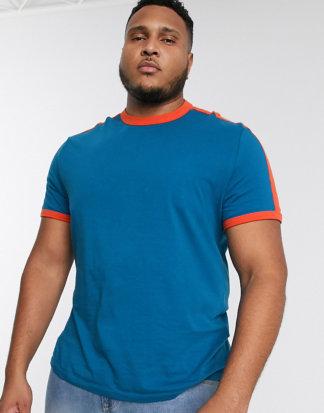 ASOS DESIGN Plus - Blaues T-Shirt aus Bio-Baumwolle mit kontrastierendem Schultereinsatz