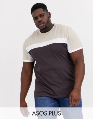ASOS DESIGN Plus - Braunes T-Shirt mit Farbblockeinsätzen