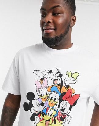 ASOS DESIGN Plus - Disney - Legeres T-Shirt mit Rundhalsausschnitt und Disney-Muster auf der Vorderseite-Weiß