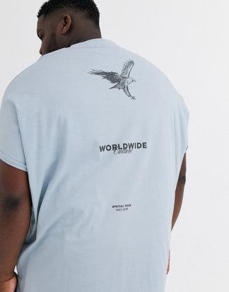 ASOS DESIGN Plus - Extrem Oversize-T-Shirt aus Bio-Baumwolle mit Rollärmeln und Aufdruck vorne und hinten-Blau