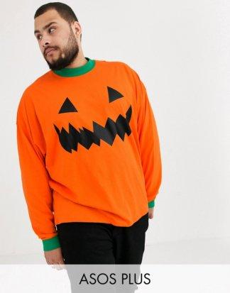 ASOS DESIGN Plus - Halloween - Übergroßes, langärmliges T-Shirt mit Kuürbis-Design-Orange